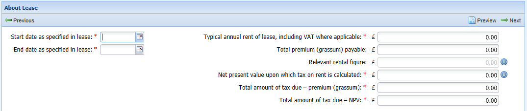 'About the Lease' screenshot